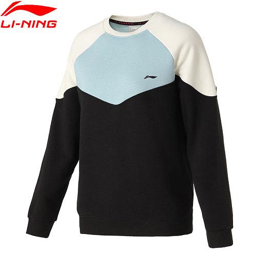 Li-Ning Women Training Po Knit Top Loose 78%Cotton 22%Polyester LiNing Sweatshirts li ning Color-block Sweaters AWDQ448