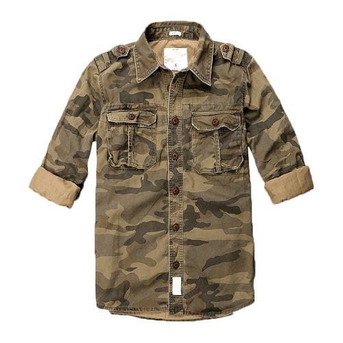 Spring Autumn Cotton Camouflage Long Sleeve Thin Breathable Tactical Shirts Mens Outdoor Hiking Climbing Sports Military Shirt