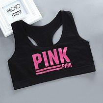 Teen bra girl vest Cotton Spandex with Pink Letter Solid Color Girl's Sport Underwear Letter Racerback Training