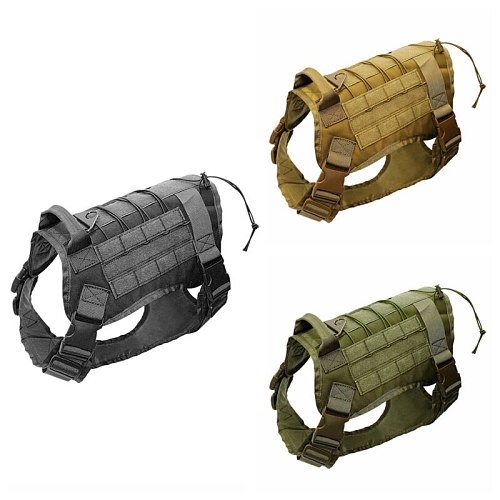 Adjustable Tactical Service Dog Vest Training Hunting Molle Nylon Water-resistan Military Patrol Dog Harness with Handle Hunting