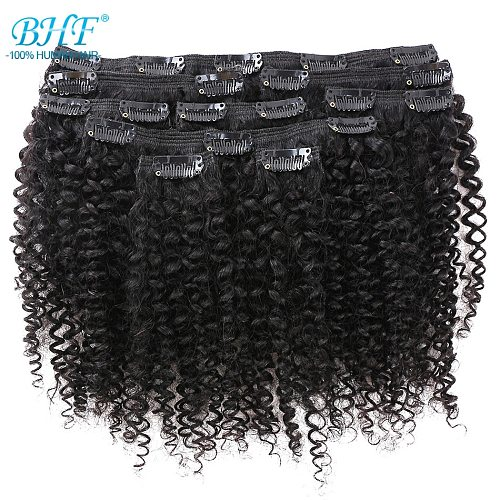 BHF Afro Kinky Curly Clip In Human Hair Extensions Natural Color Full Head 9 pieces/set 100g Curly Weave Mongolian Remy Hair
