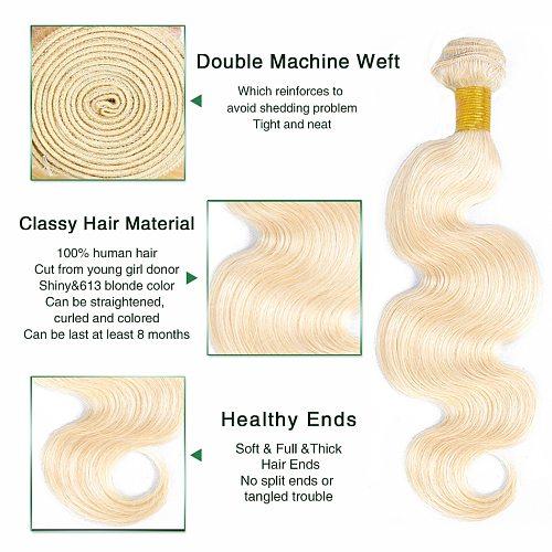 Liddy 613 Blonde Body Wave Hair Bundles Brazilian Hair Weave Bundles Human Hair Extensions Bundles Non-remy 1/3/4 Pieces