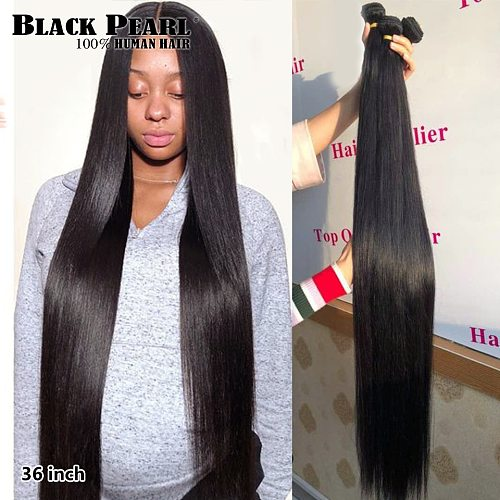 Black pearl 30 32 34 36  inch Bundles Peruvian Hair Weave Bundles 100% Straight Human Hair Bundles Remy Hair Extensions