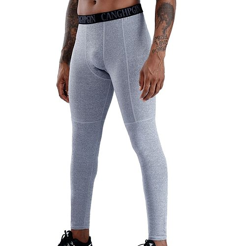 2020 Men Quick Dry Compression Running Tights with Pocket Gym Fitness Pants Stretch Training Legging Sportswear Trousers Custom