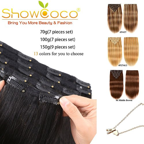 Clip In Hair Extensions Human Hair 70G 100G 150G Machine-Made Remy Clip in Hair 13 Colors Extensions Of Hair Lifelike With Clip