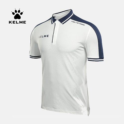 KELME Professional Men's Running Training Polo T-shirts Breathable Cotton Short Sleeve Shirts Sports Tee Tops 3871015
