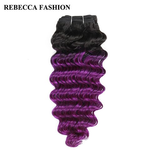 Rebecca Remy Human Hair Weave 1 bundle Brazilian Deep Wave 100g Ombre Colored For Salon Hair Extensions T1b/Purple
