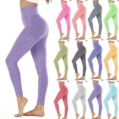 Leggings Women High Waist Hip Lifting Yoga Pants Seamless Solid Color Speed Dry Pants Fitness Yoga Pants Pantalones De Mujer