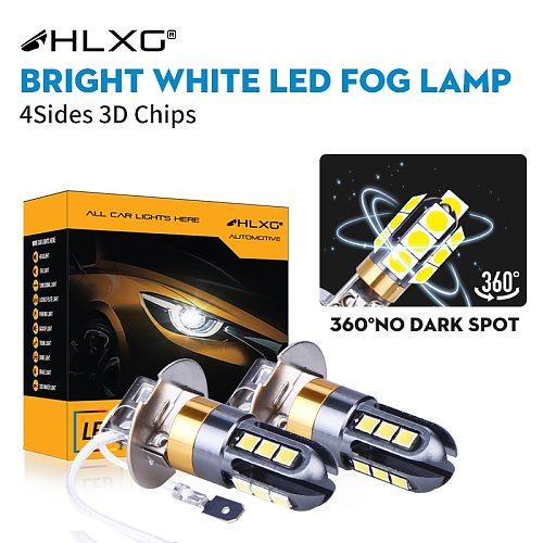 H3 LED H1 Car Front Foglamps 360 Degree White 3030 Chips 12 SMD High Power LED Fog Light 3D Headlight Lamp Bulb Lens DC 12V HLXG