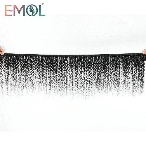 Kinky Curly Human Hair Bundles Natural Black Emol Brazilian Non-Remy 100% Human Hair Weave Extensions For Black Women