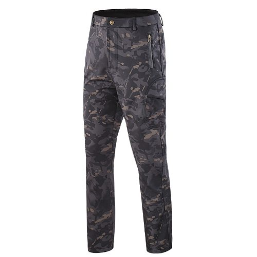 hunting trousers Autumn winter soft shell Fleece Trousers Army camouflage tactical outdoor windproof waterproof hiking pants 4xl