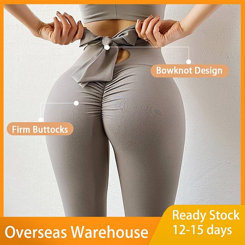 Bow Workout Fitness Gym Yoga Leggings Solid Mesh High Waist Athletic Tights Women Pants Grey Running Sports Wear yoga pantalones