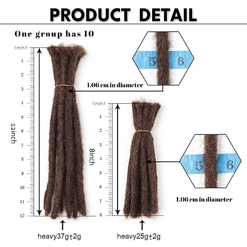 Alibaby Crochet Hair Extensions Handmade Dreadlock Braiding Dreadlocks Extensions Braids Faux Locs 6-20 inch 10 Strands One Bag