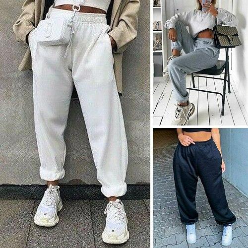 2021 Fashion Women Sweatpants Jogger Hip Hop Dance Sport Running Jogging Harem Pants High Waist Casual Baggy Trousers Streetwear
