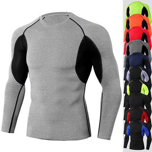 2020 Long Sleeve Men Compression Shirt Stretch Sport Shirts Quick Dry Gym Clothing Fitness Sportswear