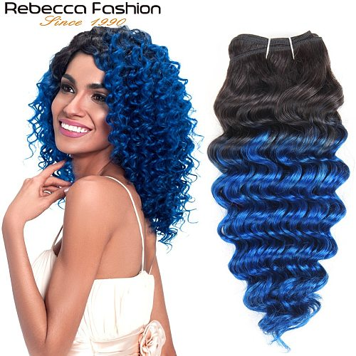 Rebecca Remy Human Hair Weave Bundles Brazilian Deep Wave Hair Ombre Blue Pre-Colored For Salon Hair Extensions T1b/blue