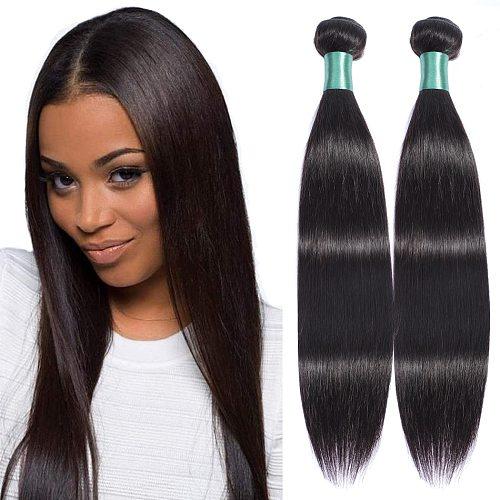 MISS LISA 28 30 Inch Human Hair Bundles Straight Hair Bundles Peruvian Hair Weave Bundles Non Remy Natural Color Hair Extensions