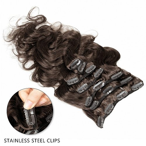 MRSHAIR Clip Ins Machine Remy Human Hair Clip In Hair Extensions Body Texture Brown Full Head Natural Hair 14 16 18 20 Inch