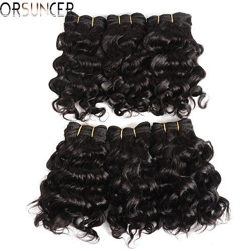Short Kinky Curly Hair Weave Bundles ORSUNCER Cheap Wholesale Price Brazilian Remy Human Hair Extensions Black /Brown/Red Color