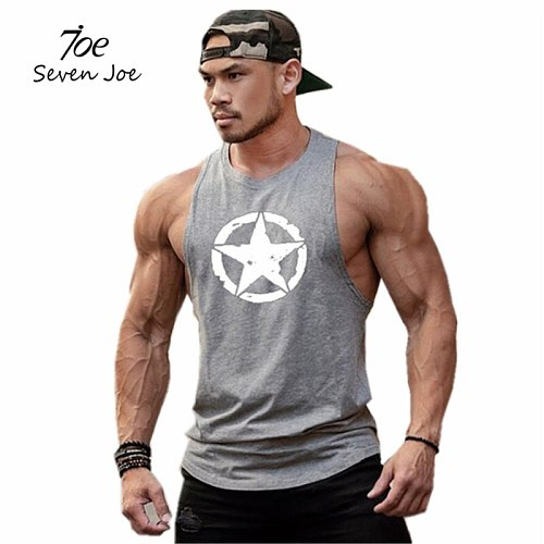 Muscle New fashion cotton sleeveless shirts tank top men Fitness shirt mens singlet Bodybuilding workout gym vest fitness men