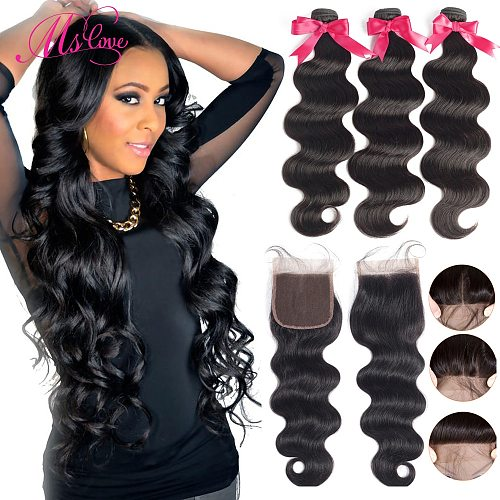 Body Wave Human Hair Bundles With Closure Brazilian Hair Weave 3 4 Bundles and 4x4 Lace Closure 30 Inch Remy Hair Wholesale