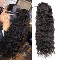 Aliballad Water Wave Drawstring Ponytail Human Hair Brazilian With Afro Clip In Extensions 4 Combs Remy Natural Wavy Ponytail