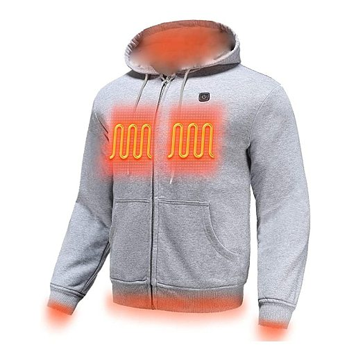 PARATAGO 2020 Outdoor Electric USB Heating Sweaters Hoodies Men Winter Warm Heated Clothes Charging Heat Jacket Sportswear P5103