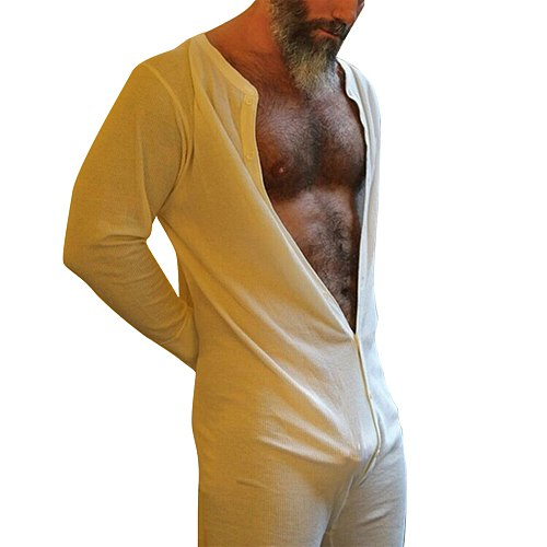 Sexy Men' s Jumpsuit Solid Color Round Neck Long Sleeve Bodysuit Nightwear For Men White/Red/Black Pajamas 2020