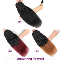 Racily Hair Brazilian Afro Kinky Straight Pony Tail Remy Wrap Around Drawstring Ponytail Ombre Human Hair Ponytail Extensions