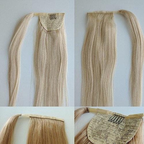 Straight Drawstring Human Hair Ponytail With Clip In Natural Hair Extension Women Hairpiece Wrap Around Brazilian Remy Hairstyle