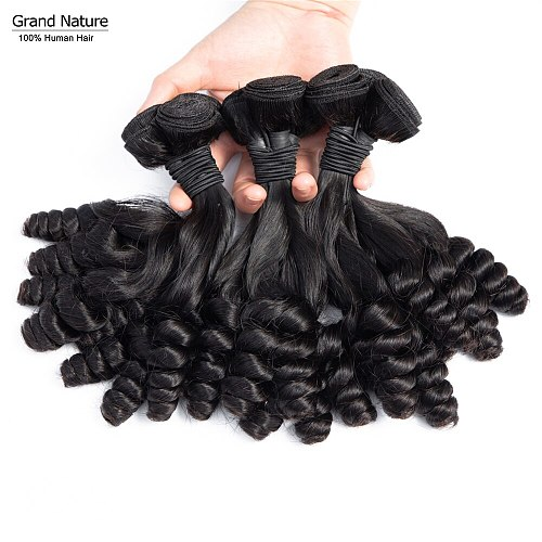 Double Drawn fumi curly brazilian virgin hair Weave Bundles 3/4 Human hair Extension Natural Color High Ratio can be bleach 613