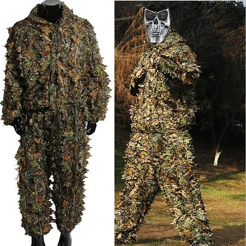 Large Hunting clothes New 3D maple leaf Bionic Ghillie Suits Yowie sniper birdwatch airsoft Camouflage Clothing jacket and pants