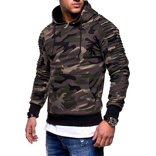 Fashion Men's Training Exercise Sweater Camouflage Pullovers Gym Fitness Man Running Sweaters Pocket Military Hooded Sweatshirts