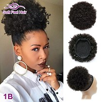Afro Puff Ponytail Human Hair Bun Kinky Curly Drawstring Ponytail Ombre Brazilian Clip In Hair Extensions Soft Feel Hair Chignon