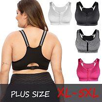 SEXYWG Plus Size Top Women Zipper Sports Bra Underwear Shockproof Push Up Gym Fitness Athletic Running Yoga Bh Sport Bra Top 5XL