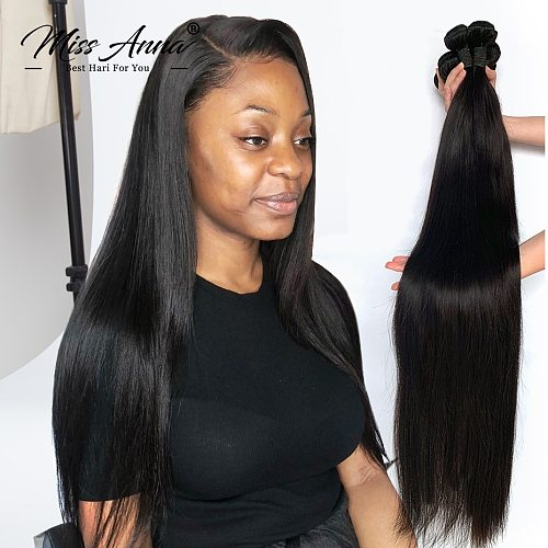 Missanna 30 32 34 36 38 40 Inch Indian Soft Straight Weave Bundle 100% Natural Color Human Hair 1 3 4 Bundles Thick Remy Hair