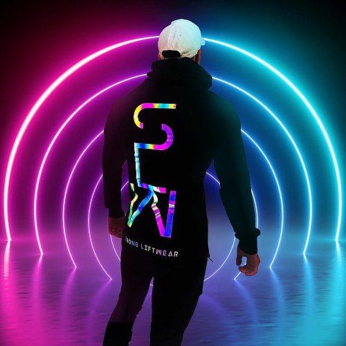 2021 NEW Reflective Hoodies Men Sweatshirts Streetwear Cotton Fashion Black Reflective Sweatshirts Male Hip Pop Long Sleeve