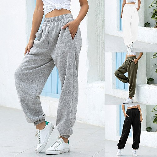 Women Casual Sweatpants Loose Elastic Waist Sports Pants Solid Sweatpants Baggy Ankle-length Trousers Black Gray High Waist 2020