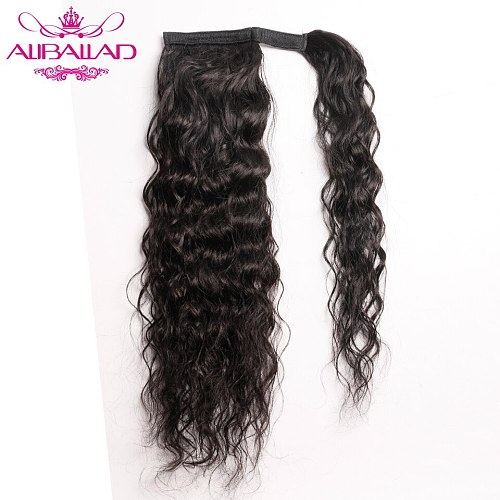 Water Wave Wrap Around Ponytail Human Hair Brazilian Natural Wavy Remy Hair Clip In Ponytail ExtensionsFor Women 120g