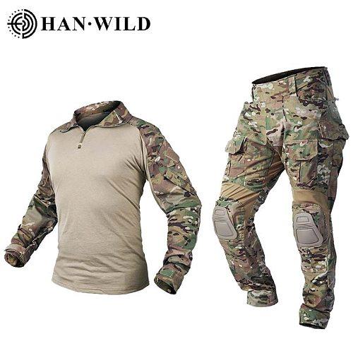 Hunting Pants G3 Suit Tactical Military Uniform Multicam Forces Suit Hunting Pant Combat Shirt Pants Airsoft Militaire With Pads