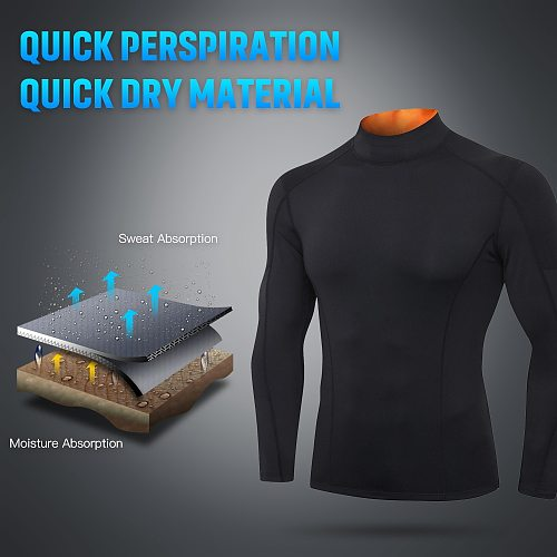 Men Long Sleeve Compression Shirts Quick-Dry Breathable Sports Tops Elastic Workout Fitness Shirt