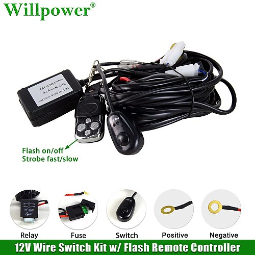 Auto LED Work Light Strobe Remote Controller Wiring Harness Kit Offroad 4x4 Truck Driving Lamp LED Light Bar 1 Lead Flash Switch