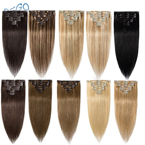 SEGO 15 -22  65-75g Straight Clip in Human Hair Extensions Machine Made Remy 7PCS/set Real Brazilian Natural Hair
