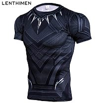 New Quick Dry Tank Man's T-Shirt Black Panther Running Shirt Men Compression Tights Top Short Sleeve Gym T Shirt Rashgard Male
