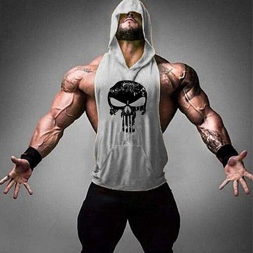 Running hooded vest men Summer men's fitness loose sports sleeveless t-shirt students hip hop basketball hooded vest