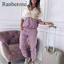 Spring Summer Women Casual Tracksuit Sportswear Sets Women Patchwork Hoodies Sweatshirt and Sweatpant 2 Pcs Plus Size Jogger Set