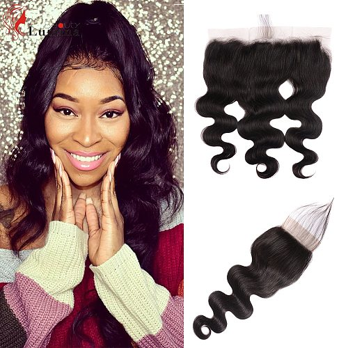 Body Wave Human Hair Closure 4 By 4 Lace Frontal 13 By 4 Natural Color Light Brown Lace Closure Frontal Beauty Lumina Remy Hair