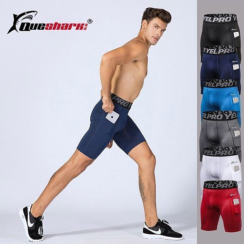 QUESHARK Pro Men Compression Running Tights Quick Dry Fitness Shorts Sports Workout Training Leggings Black Deportivo Hombre