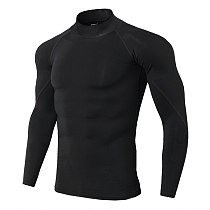 Long Sleeve Fitness Gym Clothing Stand Collar Compression Shirt Winter Sport Shirts Cycling Stretch Sportswear Men Camiseta