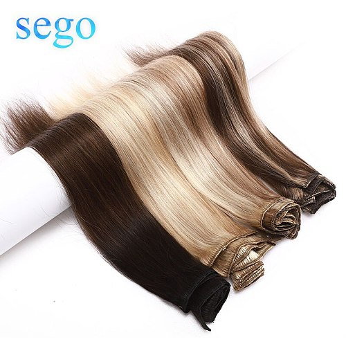 SEGO 10-24inch 8Pcs/Set Hair Clip In Human Hair Extensions Non-Remy Natural Hair 13 Colors No Tangle Brazilian Hair 25g-80g